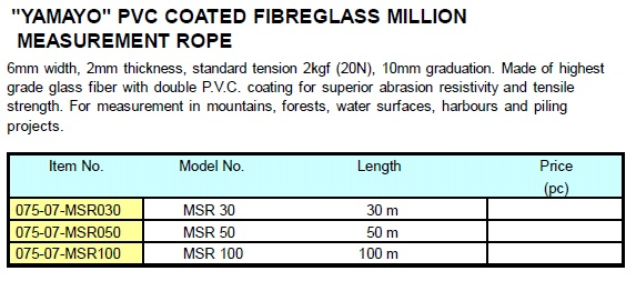 Yamayo Measuring Tools : Yamayo pvc coated fiberglass million measurement rope